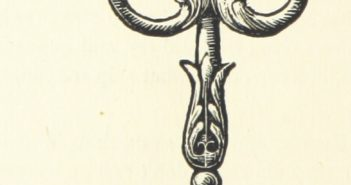 A drawing of an old key hanging from a stylized hook.