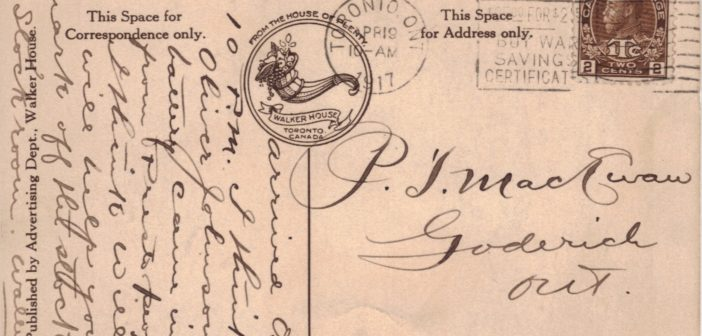 hand written postcard from WWII with Canadian stamp