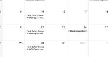 screenshot of calendar with a weekly appointment set for safety sweep on Tuesdays