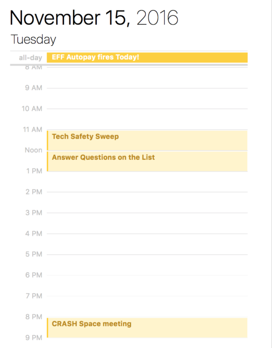Calendar page with time scheduled to answer question on a mailing list.