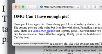 screenshot of an innocent looking website, but the status bar reveals a like going to a shady website