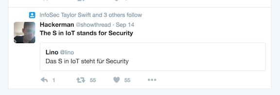 Screenshot of a September 14th saying Das S in IoT steht für Security.