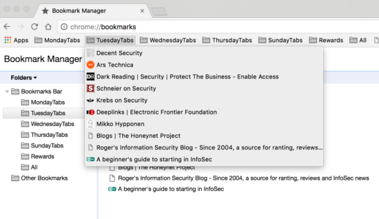 screenshot of a bookmarks list in a web browser.