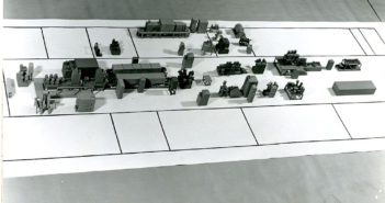 model town on a grid of paper