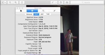 Screenshot of EXIF information window