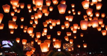 Lanterns rising at Pingxi Sky Lantern Festival in 2014, Taiwan. By Jirka Matousek