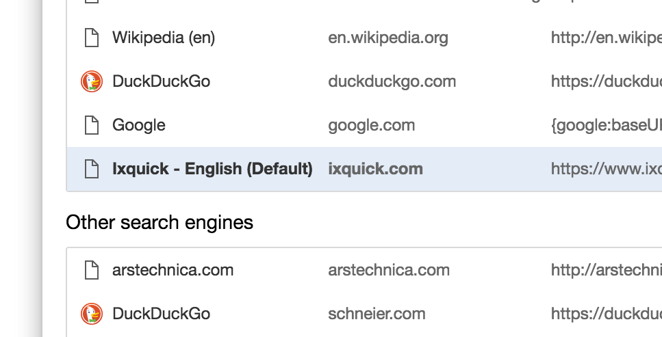 Screenshot of a list of search engines including DuckDuckGo and ixquick on Chrome settings page.