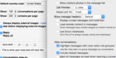 A collaged screen shot of both Apple's email client and Gmail's client settings for auto image loading.