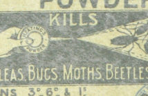 old fashioned label for flea powder