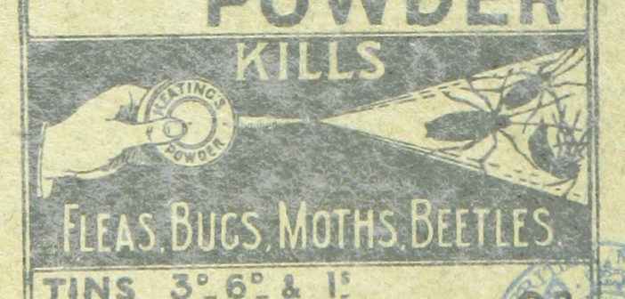 old fashioned label for flea powder