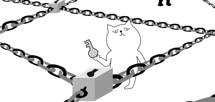 cats with keys and chains.