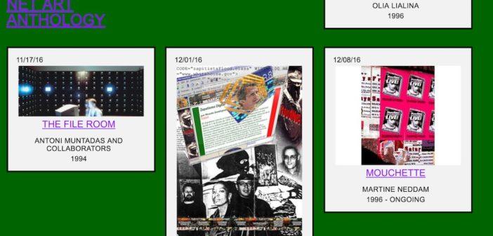 screen capture of rhizome's Net Art Anthology site