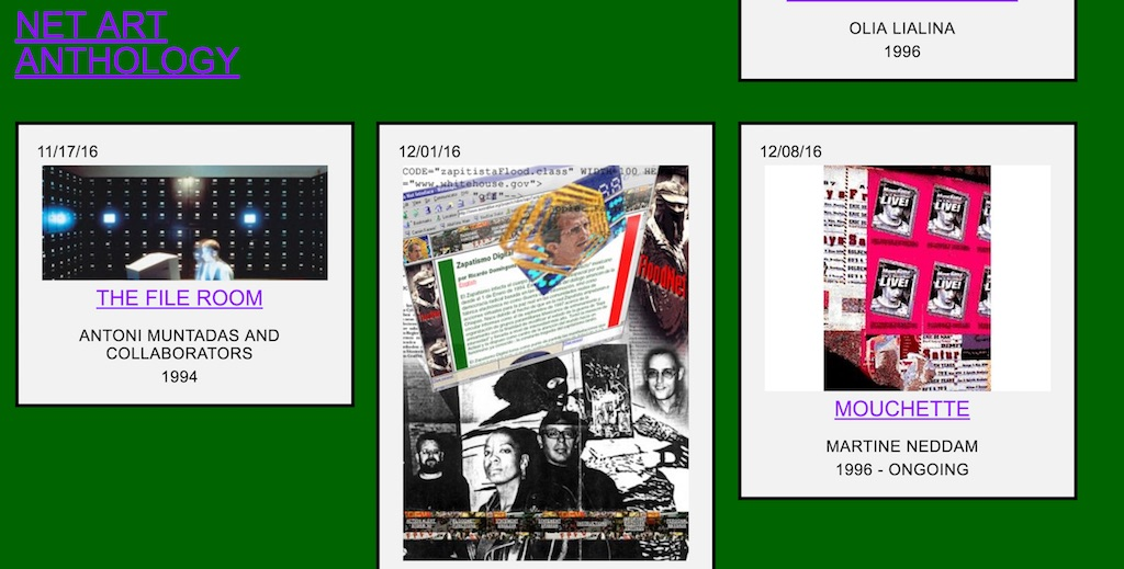 screen capture of rhizome's Net Art Anthology site