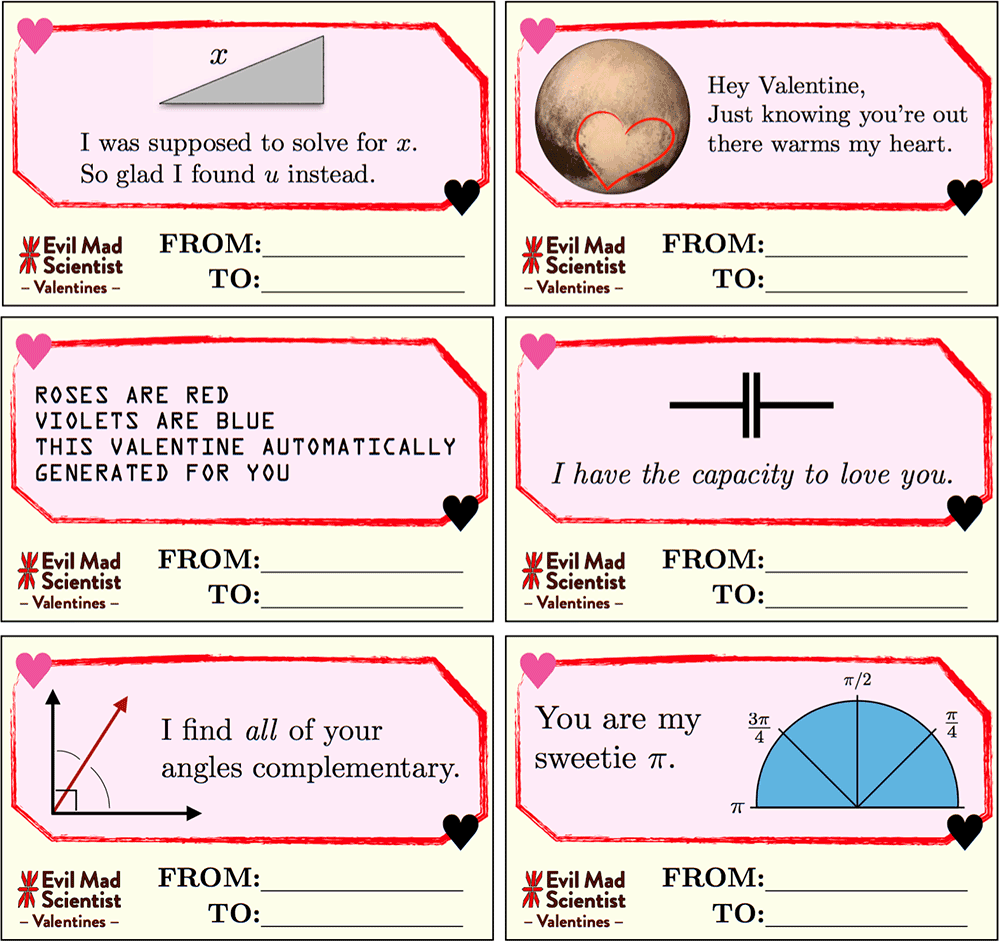 valentines day cards with math and science puns.