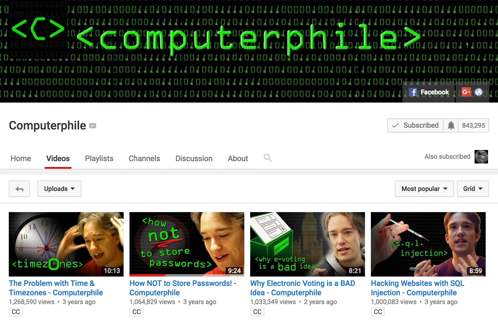 screenshot of the Computerphile YouTube channel home page