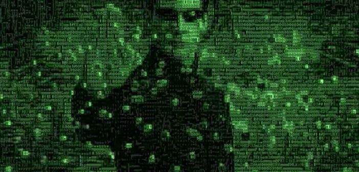 Man with hand up being shot with several bullets. Image is rendered in green text.