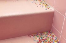 sprinkles strewn on steps