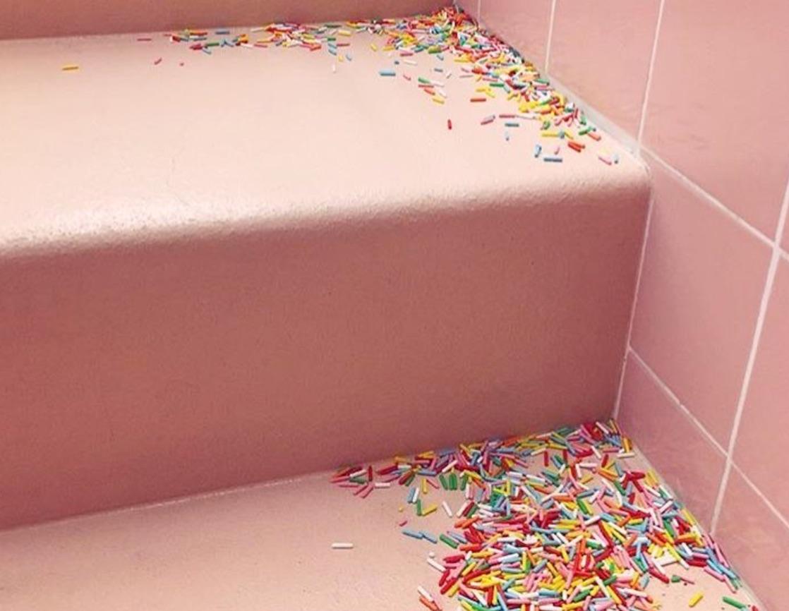 sprinkles strewn on steps