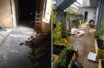A before and after of a dark corridor to a sun room with plants