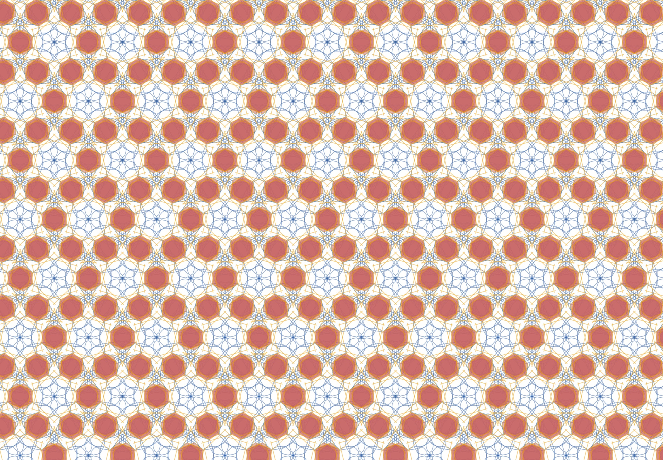 geometric tessellation in blue, yellow and red