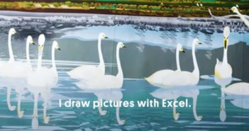 Illustration of swans on a lake