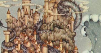 A dragon coils through a castle in the sea