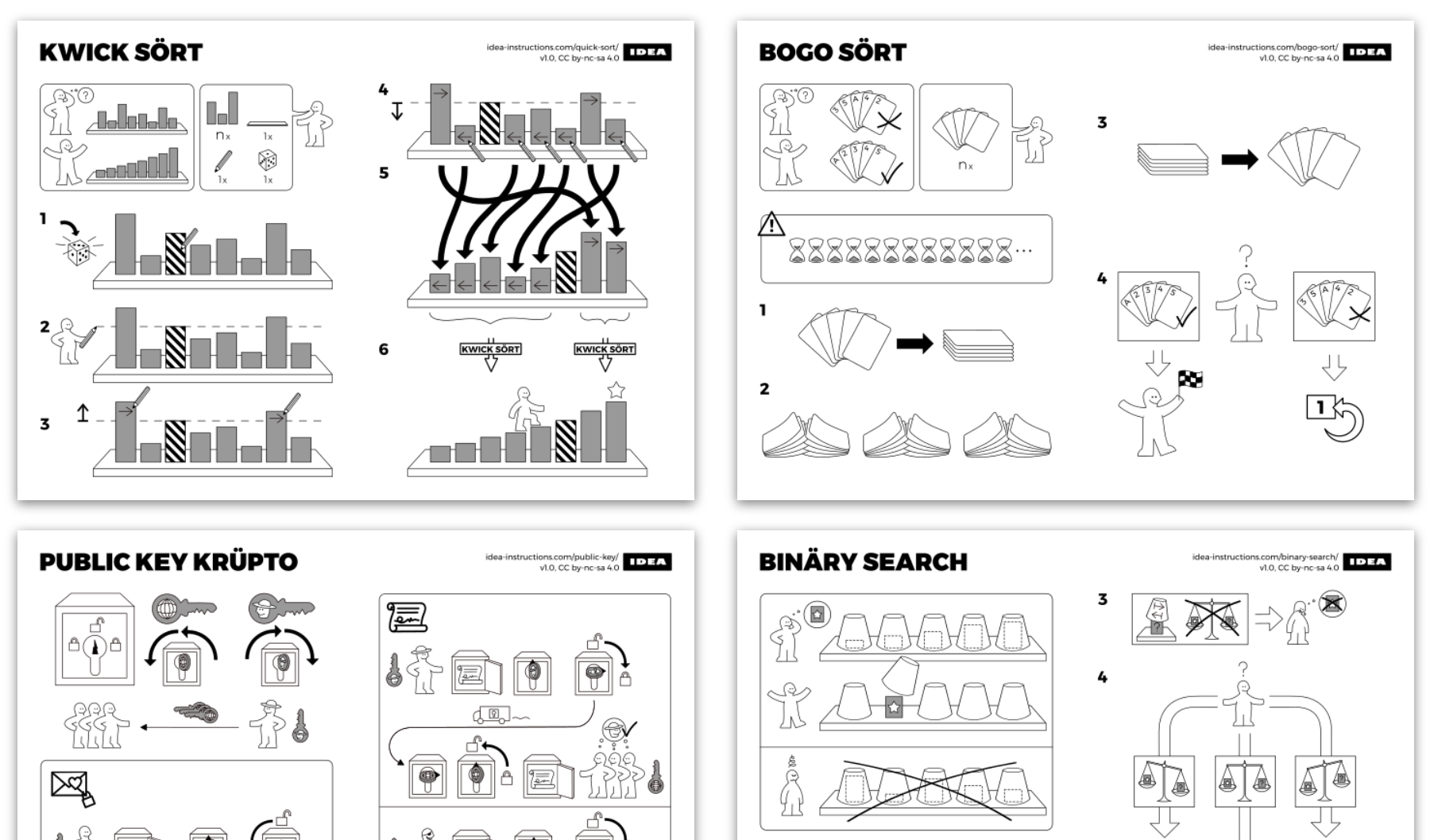 Black, white and gray illustrations that look like the ones for ikea furniture but are not.