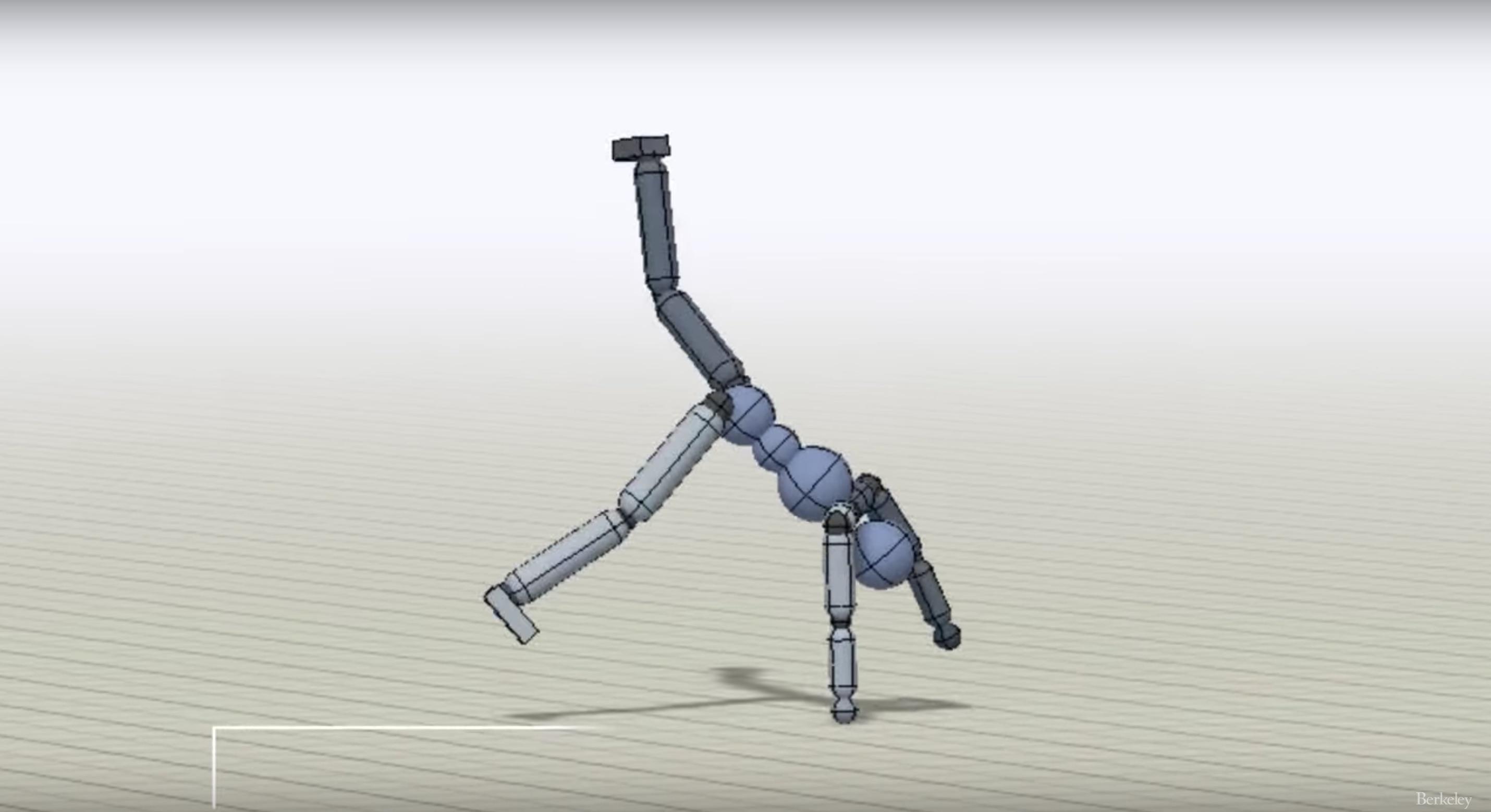 Blue 3D puffy stick figure guy mid cartwheel