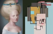 On the left an image of a woman, on the right a bunch of colored boxes