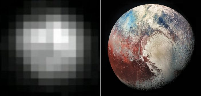 a ball of pixels on the left, a beautiful hi-res image on the right