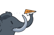 Mastodon software's illustration of an elephant throwing a paper airplane, but in this image the airplane is made from the CRASH Space logo