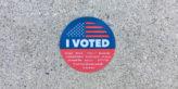 California's voter sticker on concrete