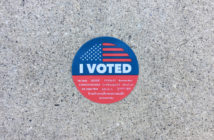 California's voter sticker on concrete