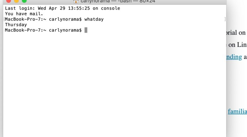 screen capture of a terminal window that has just run the command whatday and returned Thursday