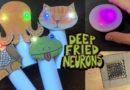 composite image of Barb's finger puppets, Tod's orb, and Carlyn's homemade slide with the Deep Fried Neuron logo