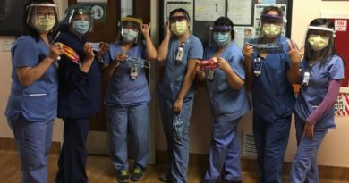 medical staff wearing PPE printed by CRASH Space and Maker's United Efforts in LA