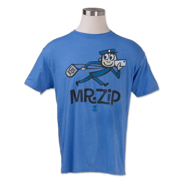 "T-Shirt with a cartoon of postal carrier called ""Mr. Zip"" on it."