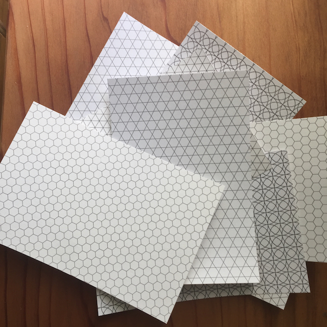 Pieces of card stock 4x6 inch sized with tessellation patters