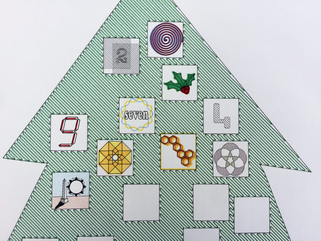 A close up of the plotter drawn December Advent Tree. It shows all 10 of the days that have passed so far in December inscribed into their squares.