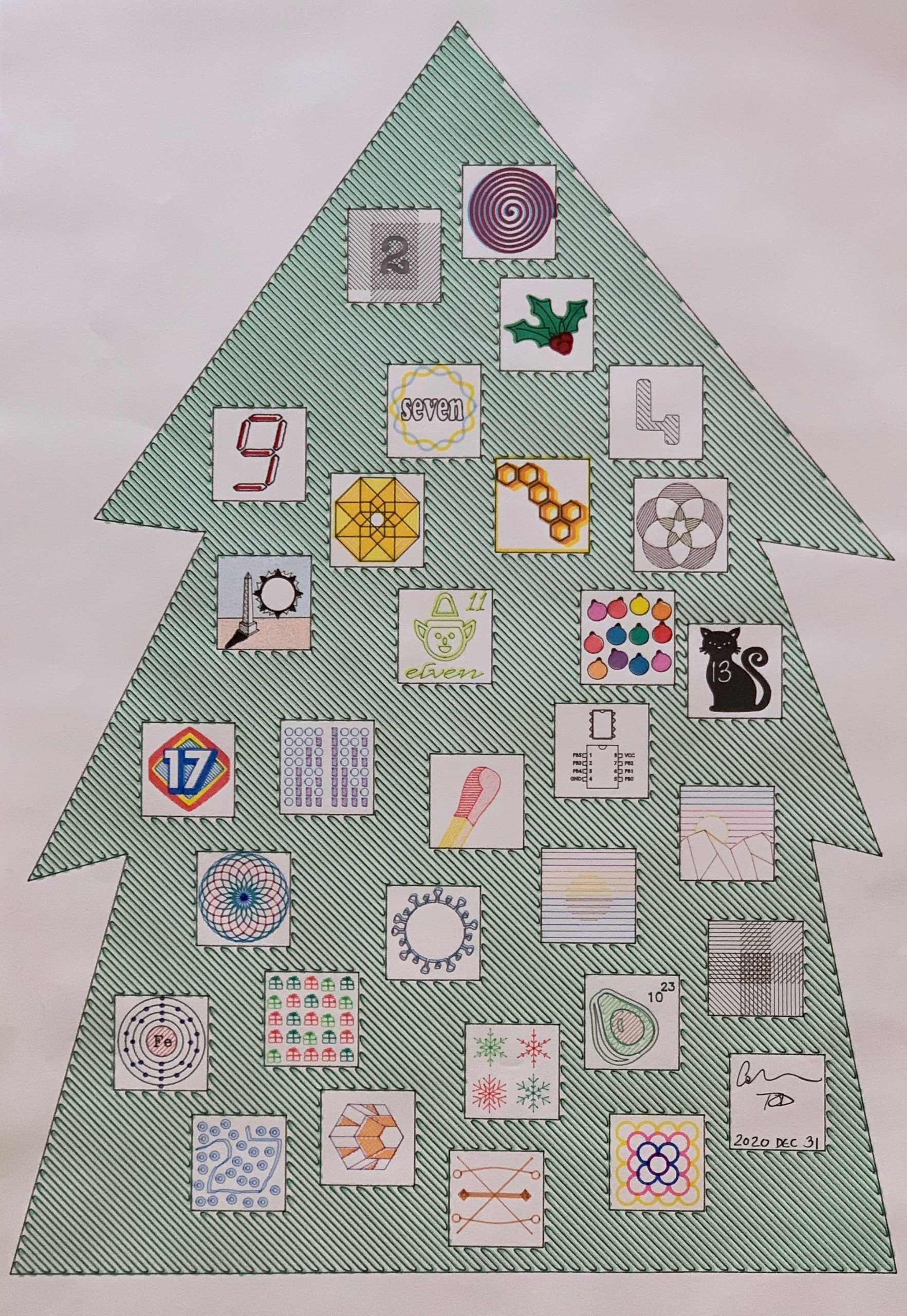 Image of a drawing of a Christmas Tree with 31 boxes, each filled with a unique drawing