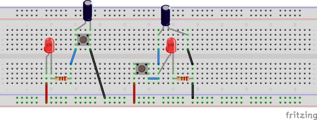 Illustration of two circuits lain out on a breadboard, each with an LED, a capacitor, a switch and a resistor.