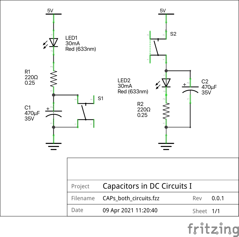 Schematic of two circuits, each with an LED, a capacitor, a switch and a resistor.